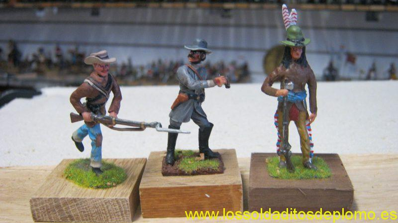 ACW-Confederate Infantry by Bussler,Officer by Yeomanry Miniatures and Scout Lasset Olive Range