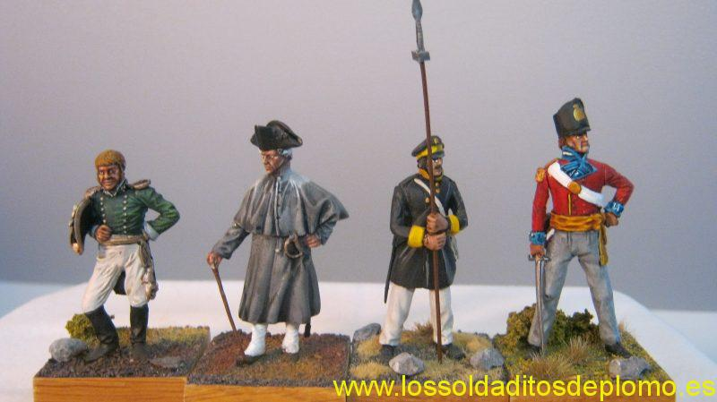 Heroic Miniatures-Austro-Hungarian Marine Officer 1820,Infantry Officer 1740. La Fortezza-Silesian Militia,1813.English Officer 1815.