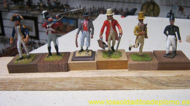 Royal Navy, 1805-Captain and Royal Marine by Stadden,Deckhand by Hinchliffe ,Dockyard Carpenter by Stadden,Civilian Messenger by Hinton