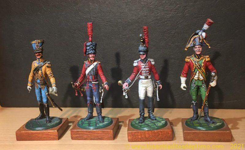 Figuras de Galarreta, Nº 11 , ADC de Soult. Nº 12, trompeta de artillería, Francia 1806. Nº 13, trompeta de coraceros, reg nº 5 , Francia 1804-09- Nº